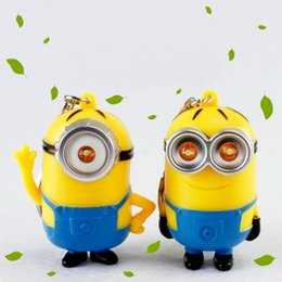"""Wholesale Despicable I - Despicable Me Minions Led Keychain Carton Key Chain With Flashlight and Sound """"i Love U""""gift For Wedding Favor DHL Free Shipping"""