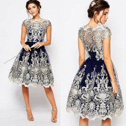 jewel maxi dress Coupons - 2019 Dark Blue Prom Dresses Short Lace Bateau Neck Cap Sleeve Knee Length Formal Cocktail Party Gowns Maxi Dress Evening Homecoming Dresses