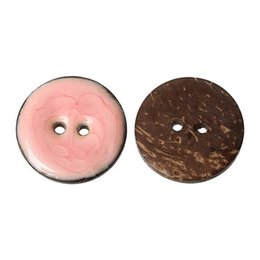 Wholesale Hole Card - Enamel Pink Coconut Shell Round Buttons With 2 Holes Buttons 25mm For DIY Crafts Accessory Card Making And Scrapbooking Pack Of 10pcs I491L