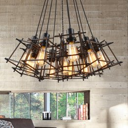 Wholesale Metal Hanging Lamp - Vintage Hanging Pendant Lights Fixture Black Metal Pendant Lamps Home Indoor Lighting American Industrial Retro Droplight European Luminaire