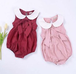 Wholesale Baby Suits Dress Retail - Summer Baby Clothes for retail romper suit dress doll baby climb clothes triangle bag fart collar sleeveless infant children's clothing TNSC