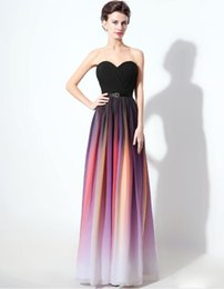 Wholesale Sweetheart Gradient Prom Dress - Real Lily Collins Elie Saab Couture Style Ombre Evening Dresses Printed Long Pleats Bridesmaid Celebrity Prom Gown Gradient Ramp Formal Wear