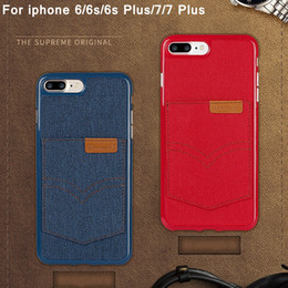 Wholesale Denim Phone Cases - Hanman Flip denim Phone Case For iPhone 6 6s 6plus 4.7 5.5 Fashion Cover Case for iPhone 7 7plus soft TPU Fundas Cape