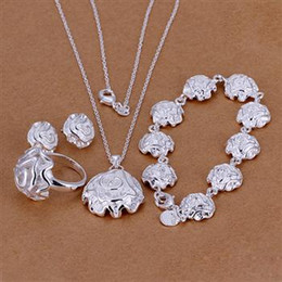 Wholesale Silver Rose Bracelet Earrings Necklace - Fashion Jewelry Set 925 Sterling Silver Plated Rose Pendant Necklace Earrings Ring Bracelet For Women Valentine's Day Gifts