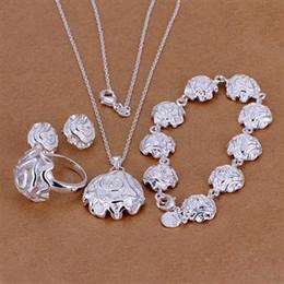 Conjunto de joyas de moda de plata de ley 925 chapado en rosa colgante collar pendientes anillo pulsera para las mujeres regalos del día de san valentín desde fabricantes
