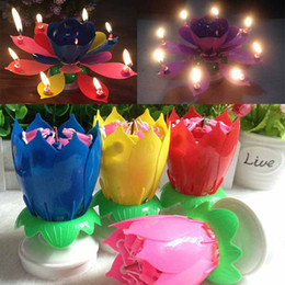 Wholesale Music Cup - New Colorful Petals Music Candle Children Birthday Party Lotus Sparkling Flower Candles Squirt Blossom Flame Cake Accessory Gift WX9-104