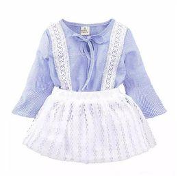 Wholesale Mini Skirt Top Set - Ins Princess Baby Girls Clothing Sets Summer Sleeveless Tops and Tutu Seqiun Lace Mini Skirt 2Pcs Party Girls Outfits 2-7Y B11