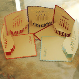 Wholesale New Handmade Birthday Cards - 3D Greeting Cards Handmade Pop Up Card Happy Birthday Greeting Card Handcrafted Kirigami Origami Gifts With Envelope Multicolor