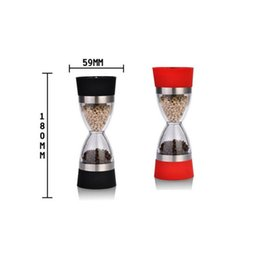 Wholesale Pepper Core - Stainless Steel Manual Salt Pepper Mill Grinder Grind 2 In 1 Ceramic Core Portable Kitchen Mill Muller Tool ZA5508