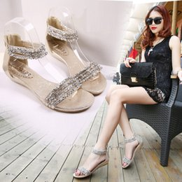 Wholesale Roman Wedge Sandals Fashion - New Roman sandals summer beaded rhinestone low heel shoes small wedge non-slip shoes
