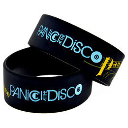 "Wholesale Great Halloween Gifts - Wholesale 50PCS Lot Panic at The Disco Silicon Wristband 1"" Wide Band, Great To Used In Any Benefits Gift For Music Fans"