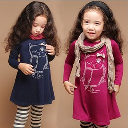 Wholesale Owl Neck - fashion cotton girl dress long sleeves baby princess girls cartoon night owl winter dress girls apparel