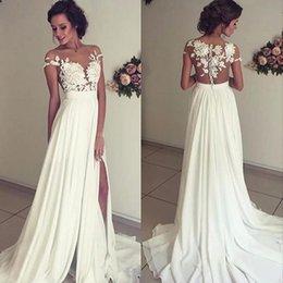 Wholesale Destination Lace Wedding Dresses - Sexy Split Chiffon Wedding Dresses Ivory Beach Bridal Gown Promotion Hot Sale Destination Informal Wedding Dress