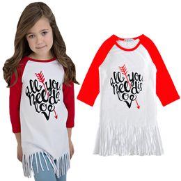 Wholesale 5t Girls Halloween Costumes - Girl T-shirt 2017 Spring Tassel Long Sleeve Kids T Shirts Tops Baby Girl Clothes Fashion Letter Arrow Toddler Girls T Shirt Children Costume