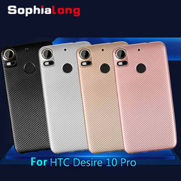 """Wholesale Desire Gold - Back Cases for HTC Desire 10 Pro Case Soft Cover for HTC Desire 10 Caps Carbon + TPU Phone Protector 5.5"""""""