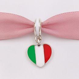 Flagge italien online-925 Silber Perlen Italien Herz Flagge Anhänger Charme für europäische Pandora Style Schmuck Armbänder Halskette für Schmuckherstellung 791547ENMX