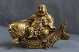 Wholesale Buddha Brass Statue - China Brass Yuan bao wealth Happy Laugh Maitreya Buddha Ride Fish Statue