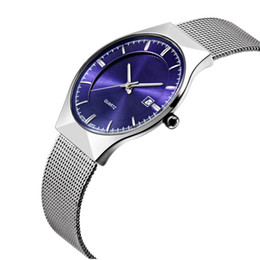 Wholesale Super Slim Watches - Super slim Display Quartz Luxury Brand WWOOR Stainless Steel Analog Quartz Men's Watch Stainless Steel Band WristWatch 2016 Hombre