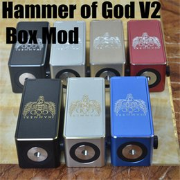 Wholesale New Hammer Mod - 1pc New Hammer of God 2 Box Mod Square Metal Tube fit 18650 Battery 510 RDA Atomizer with LED Voltage Display E Cigarette