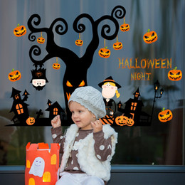 Wholesale Furniture Wall Decor - Children Halloween Wall Decor bedroom 3D stickers pumpkin lantern Night Tree Removable print Sticker Furniture Stickers decoration