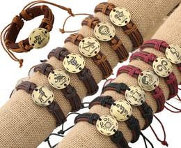 Wholesale Color Men Bracelets Leather - 12PCS Fashion 12 Zodiac Signs Men Leather Bracelet Adjustable Silver Gold Color Charms Constellations Women Leather Bracelet Jewelry