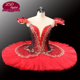 Costumi cigno nero online-Tutu di Tutu Red Tutu per adulti di Red black Tutu per prestazioni Black Swan Costume Girls Ballet TutuLD0014