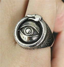Wholesale Gods China - Size 7-13 Punk Style All Seeing Eye Ring 316L Stainless Steel Jewelry Cool Design Mens Women Biker Lord God Eye Ring