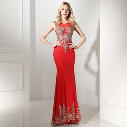 Wholesale Long Fitted Chiffon Dress - Real Model Red Mermaid Evening Dresses Long Sexy Gold Appliques Beading Sheer Bodice Fitted Formal Evening Gowns Party Prom Dress 0641