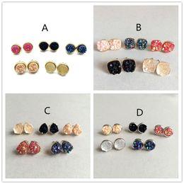 Wholesale Black Square Earrings For Women - Fashion Drusy Druzy Earrings Gold Plating Popular Square Gemstone Stone Stud Earrings for Women Lady
