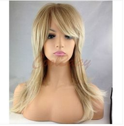 Wholesale Wig Cosplay Blonde - 100% New High Quality Fashion Picture full lace wigs Women's Fashion Sexy Long Straight Blonde Wigs Cosplay Synthetic Full Wig+Cap