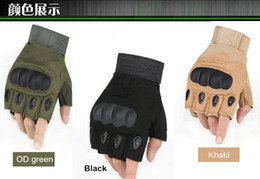 Wholesale Green Racing Gloves - Army tactical glove half finger outdoor glove anti-skidding sporting gloves 3 colors 9 size for option