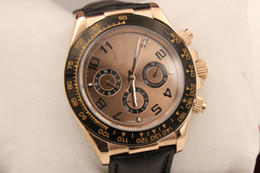 Wholesale Mens Golden Dial - luxury Watch Mens 116528 rose golden Edition Black Dial Perpetual Automatic leather belt Sport Men's Watches