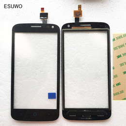 """Wholesale Iphone 3g Glass Digitizer - Wholesale- ESUWO 4.5"""" Tested Touchscreen For ZTE Blade Q Lux 3 G 3G 4G Touch Screen Front Glass Sensor Digitizer Panel+3M sticker"""