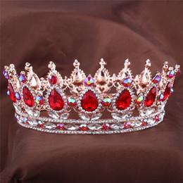 Argentina Diseños europeos Royal King Queen Crown Ruby Teardrop Rhinestone Tiara Joyas para el cabello Quinceanera crown Wedding bride Pageant Tiaras Cro Suministro