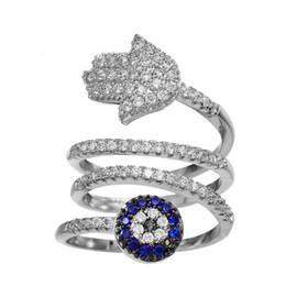 Злобное кольцо для глаз хамсы онлайн-KIVN Модные украшения Tiny Pave Духовные Хамса Сглаз CZ Кубический Цирконий Кольца для Женщин