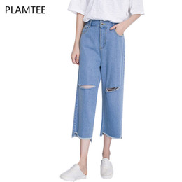 Wholesale Jeans Loose Legs For Women - Wholesale- XL Ripped Jeans For Women Summer New Style Knee Hole Jeans Calca Feminina Casual High Waist Wide Leg Pants Woman Denim Trousers