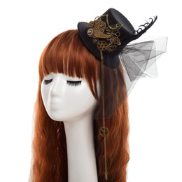 Wholesale Costumes Top Hats - Black Gothic Women Steampunk Gear Wings Clock Butterfly Min Top Hat Lace Hair Clip Headwear Cosplay Accessory