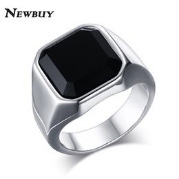 Wholesale Ring Stone For Male - Wholesale- NEWBUY Classic Design Big Black Stone Ring For Men Stainless Steel Man's Fashion Cool Punk Style Ring Male Jewelry Wholesale