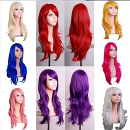 Wholesale Red Anime Wig - DHL COS Anime Cosplay Wigs 10 colors Synthetic Hair Wig stage Cosplay Colored Christmas Halloween Costume cheap Long Straight Wigs For Party
