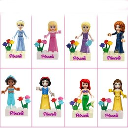 Wholesale Snow Blocks - Wholesale 24pcs  Lot Princess Mini Figures DIY Ariel Cinderella Aurora Rapunzel Mei Lida Jasmine Belle Snow White Building Blocks