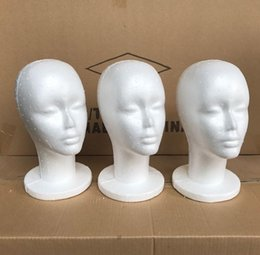 Wholesale Manikin Display - 5Pcs Female Styrofoam Foam Mannequin Manikin Head Model Wig Glasses Hat Display Stand Creative Men Male Smooth Mannequin Head Model Wig Hat
