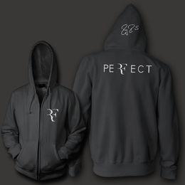 Wholesale Long Zip Up Hoodies - Wholesale-Roger Federer signature RF logo perfect men women unisex zip up hoodie Sweatshirt hoody Free Shipping