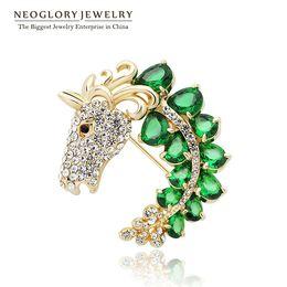 Wholesale Rhinestone Horse Brooch - Zircon Rhinestone Animal Design Big Brooches For Women Fashion Neoglory Jewelry Wedding Birthday Gift New 2017 New Hot Horse