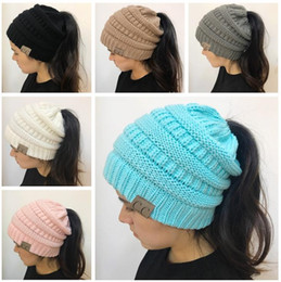 Wholesale Newest Winter Woolen - 2017 Newest Women CC Beanies Winter Woolen Caps Girl Ponytail Hats Women Winter Warm Knitted Crochet Skull Beanie multicolor