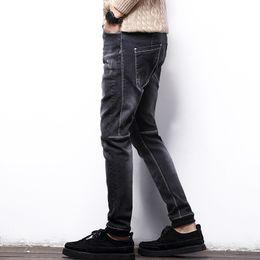 Wholesale Denim Fat Pants - Wholesale- Man Fat jeans men plus size elastic jeans slim ankle banded denim pants