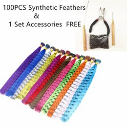 Wholesale Ombre Feathers Hair - Z&F Feather Hair Extension 16 Inch Grizzy Feather Hair With Beads Needle Hook Synthetic Weft For Party Pub Halloween