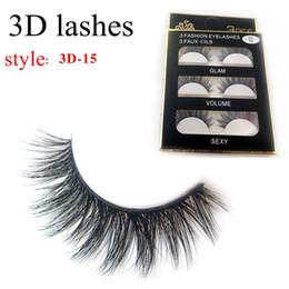 Wholesale lash boxes - 3D-15 False Eyelashes 3D Cross Thick False Eye Lashes Extension 3 pairs box Eye Makeup 3D Natural Long Handmade Fake Eyelashes