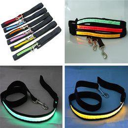 Wholesale Belt Webbing Wholesale - Black Webbing LED Flashing Lead LED Dog Leash Pet Rope Nylon Belt Harness Dog Training Lead Collar Rope Pet Dog Supplies 8 Colors Available