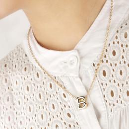 Wholesale Letter T Necklace - 26 Letters Pendant Necklaces A B C D E F G H I G K L M N O P Q R S T U V W X Y Z Golden Letter Pendants for women
