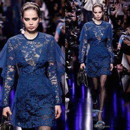 Wholesale Elie Saab Mini - 2017 Navy Blue Lace Elie Saab Dresses Evening Wear Sheer Jewel Neck Sheath Formal Dress With Long Sleeves Short Prom Gowns
